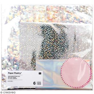 Lot de sachets cadeaux - Holographique - 15 x 25 cm, 20 x 35 cm, 25 x 40 cm - 6 pcs