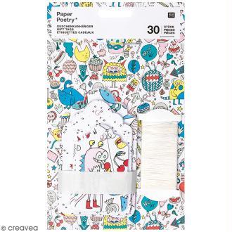 Etiquettes cadeaux - Monster party - 5 à 7,5 cm - 30 pcs