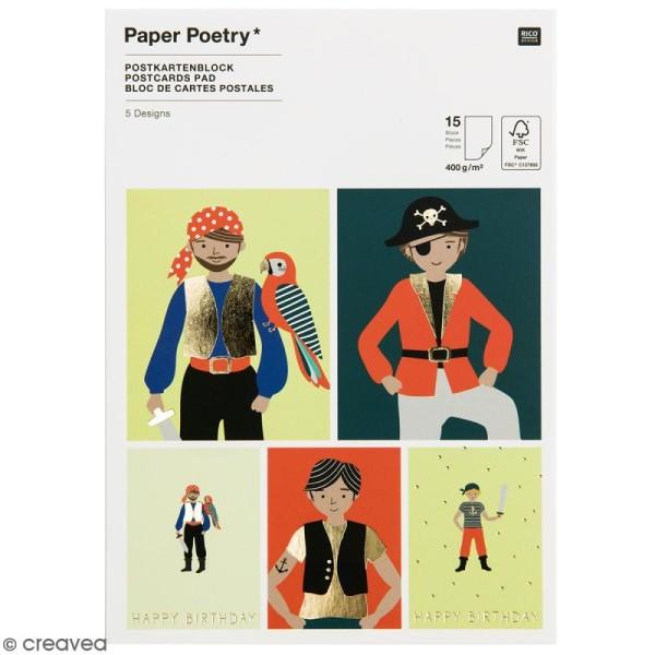 Set cartes postales - Pirate - 12,5 x 17,6 cm - 15 pcs - Photo n°1