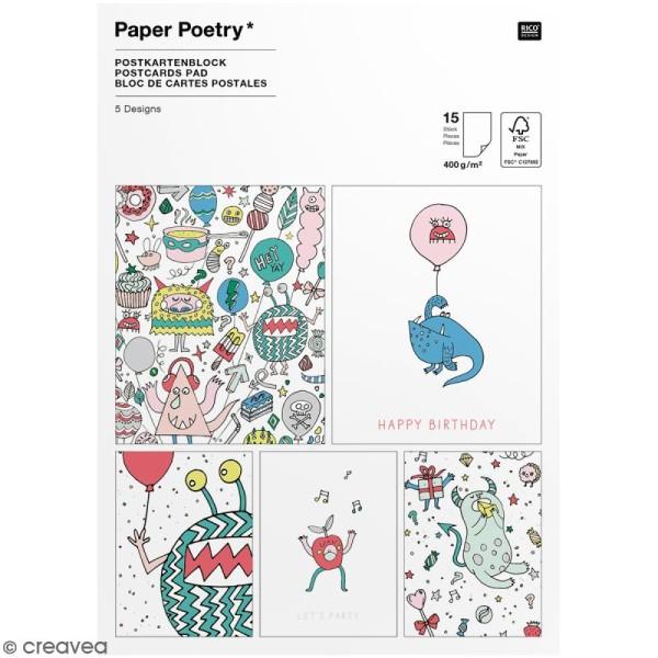 Set cartes postales - Monster party - 12,5 x 17,6 cm - 15 pcs - Photo n°1