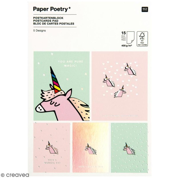 Set cartes postales - Magical summer licorne - 12,5 x 17,6 cm - 15 pcs - Photo n°1