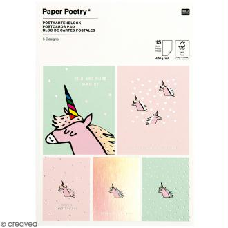 Set cartes postales - Magical summer licorne - 12,5 x 17,6 cm - 15 pcs