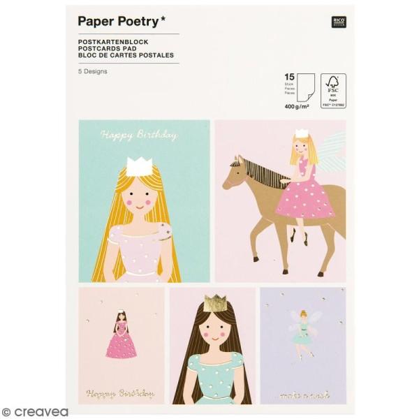 Set cartes postales - Princesse - 12,5 x 17,6 cm - 15 pcs - Photo n°1