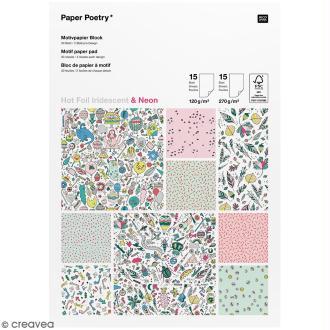 Bloc papier scrap à motif - Hot Foil Iridescent & Néon - Monster party - 30 feuilles