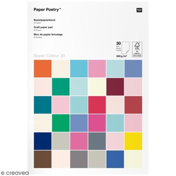 Papier cartonnéA4 300 g/m² - Super colour 30 - Assortiment de couleurs - 30 pcs - Photo n°1