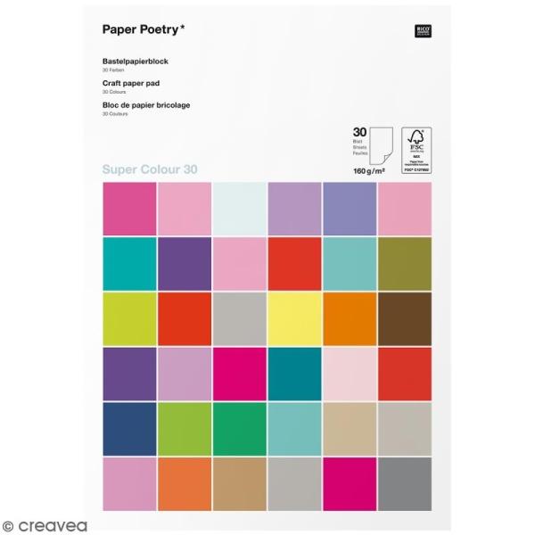 Papier cartonnéA4 160 g/m² - Super colour 30 - Assortiment de couleurs - 30 pcs - Photo n°1