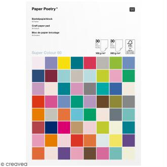 Set de Papier cartonné A4 160 g/m² et 300 g/m² - Super colour 60 - Assortiment de couleurs - 60 pcs