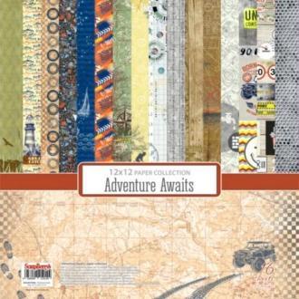 16 Papiers Fantaisis 30.5 cm SCRAPBERRY'S ADVENTURE AWAITS
