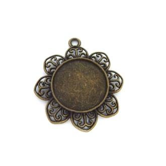 2 Supports Cabochon Pendentif Fleur Pour Cabochon De 25mm En Métal De Couleur Bronze