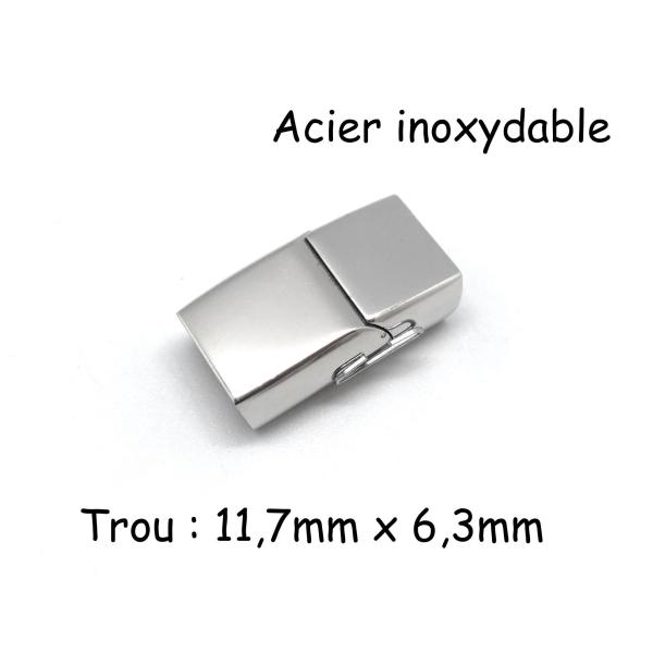 Fermoir Aimanté En Acier Inoxydable Argenté Pour Lanière Épaisse 11mm X 6mm - Photo n°1