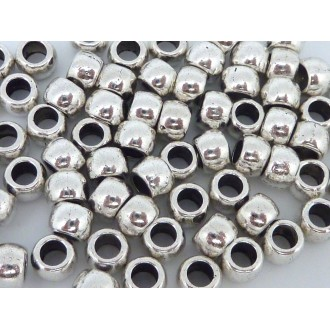 50 Perles En Métal Argenté Ronde Fine à Gros Trou De 3,2mm