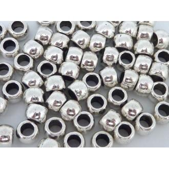 100 Perles En Métal Argenté Ronde 6mm à Gros Trou 3mm