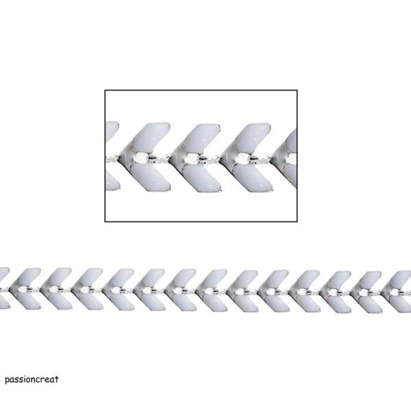 Un Mètre De Chaîne Epi 6mm Blanc Et Argenté - Photo n°1