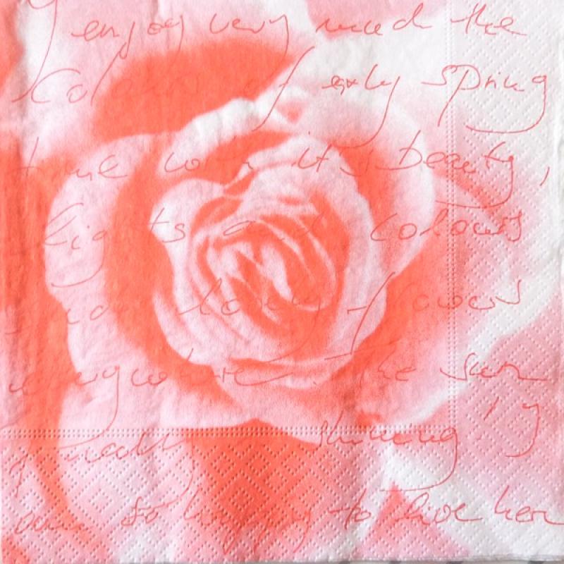 4 serviettes en papier d coupage collage 33 cm la rose 96 serviette fleurs creavea. Black Bedroom Furniture Sets. Home Design Ideas