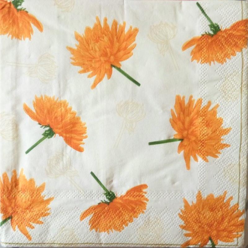 4 serviettes en papier d coupage collage 33 cm dahlia orange 169 serviette fleurs creavea. Black Bedroom Furniture Sets. Home Design Ideas
