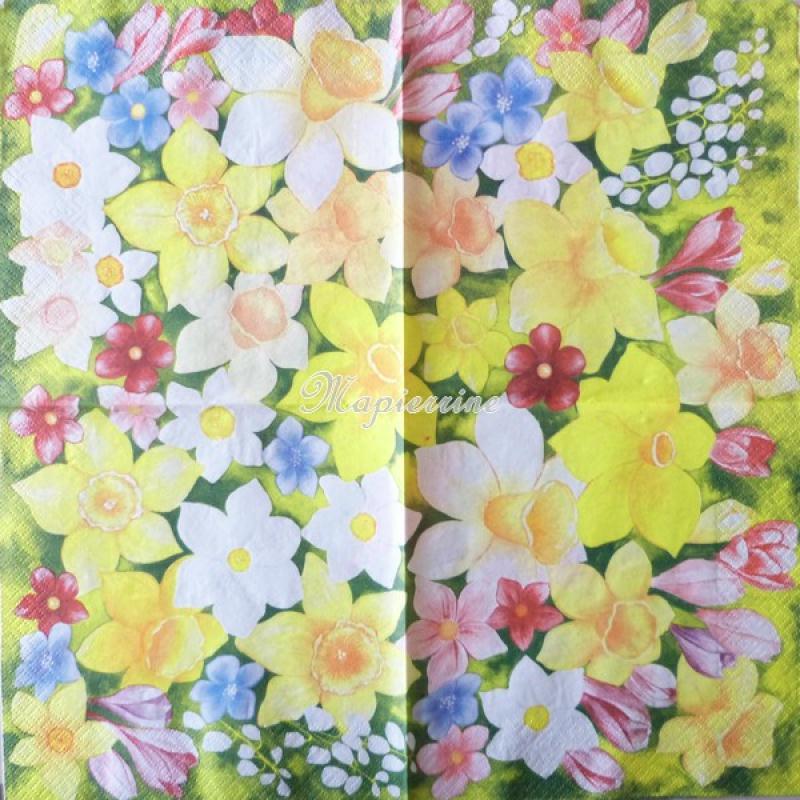 4 serviettes en papier d coupage collage 33 cm fleurs 67 serviette fleurs creavea. Black Bedroom Furniture Sets. Home Design Ideas