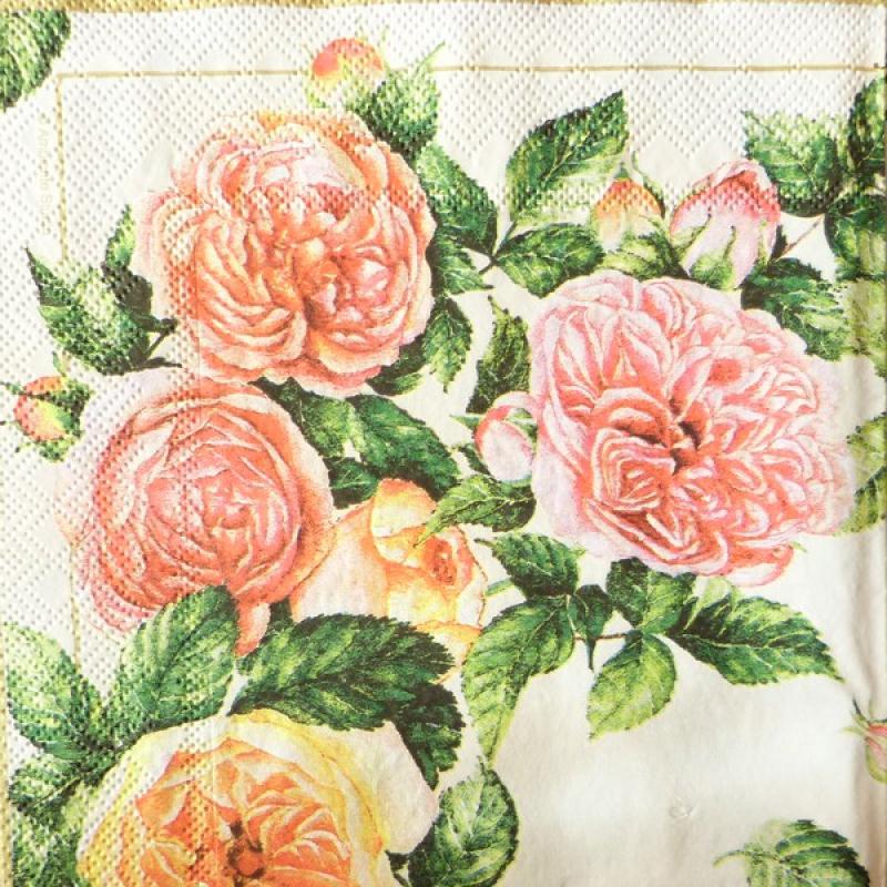 4 serviettes en papier d coupage collage 33 cm rose 25 serviette fleurs creavea. Black Bedroom Furniture Sets. Home Design Ideas
