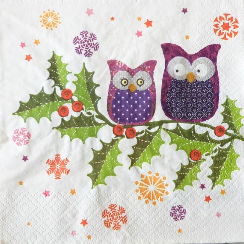 4 serviettes en papier d coupage collage 33 cm hiboux 110 serviette en papier animaux creavea. Black Bedroom Furniture Sets. Home Design Ideas