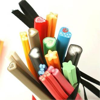 Accessoires création canes fimo coeurs et noeuds ongles et bijoux (10 pièces) Multicolore