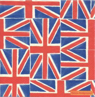 4 Serviettes en papier Drapeau Royaume-Uni Format Cocktail