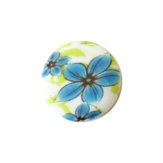 2 perles rondes fabrication bijoux en nacre 3 cm GROSSE FLEUR BLEUE