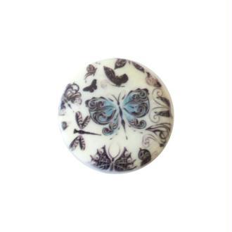 2 perles rondes fabrication bijoux en nacre 3 cm PAPILLON