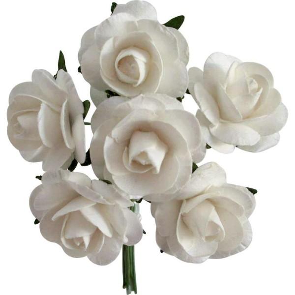 Rose en papier Blanc 11 cm - Lot de 6 - Photo n°1