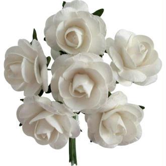 Rose en papier Blanc 11 cm - Lot de 6