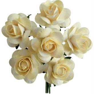 Rose en papier Crème 11 cm - Lot de 6
