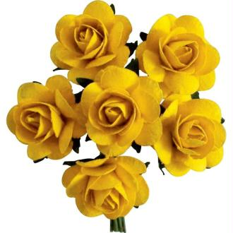 Rose en papier Jaune 11 cm - Lot de 6