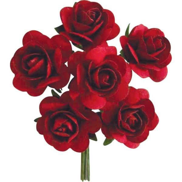 Rose en papier Rouge 11 cm - Lot de 6 - Photo n°1
