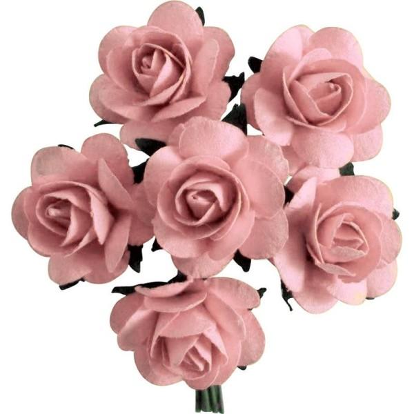 Rose en papier Rose 11 cm - Lot de 6 - Photo n°1