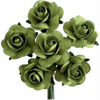Rose en papier Vert clair 11 cm - Lot de 6