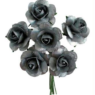Rose en papier Argent 11 cm - Lot de 6
