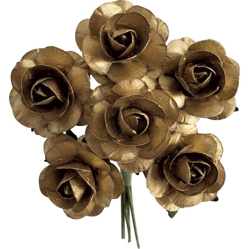 Rose en papier Or 11 cm - Lot de 6 - Photo n°1