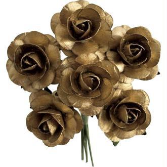 Rose en papier Or 11 cm - Lot de 6