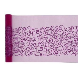 Chemin de table fushia motif arabesque - Rouleau de 5 m x 28 cm