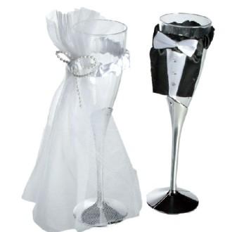 2 Coupes de champagne mariés PVC + tulle - 22 cm