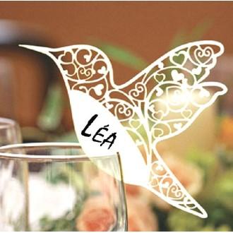 12 Marque-places oiseau laser 10 x 7 cm
