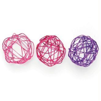 Boule en fil de fer assortiment Rose, fuchsia et lilas 2 cm - Lot de 9
