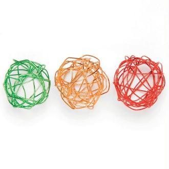 Boule en fil de fer assortiment Rouge, orange et vert 2 cm - Lot de 9