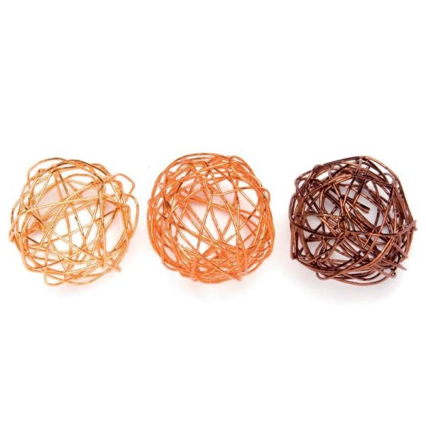 Boule en fil de fer assortiment Brun, cuivre et orange 2 cm - Lot de 9 - Photo n°1