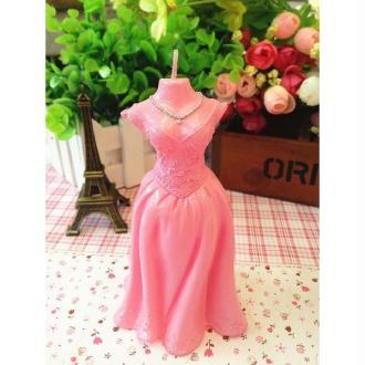 1 Bougie robe rose - 12 x 6 cm
