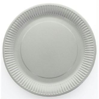 10 Assiettes cartonnées laquées grises jetables diam 23 cm