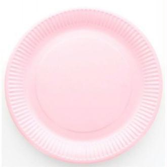 10 Assiettes cartonnées laquées roses jetables diam 23 cm