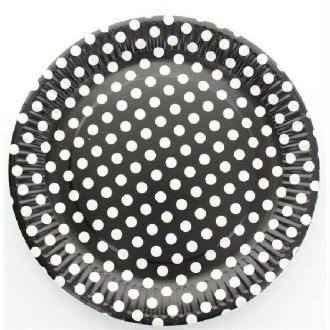 10 Assiettes cartonnées noires à pois blancs diam. 23 cm