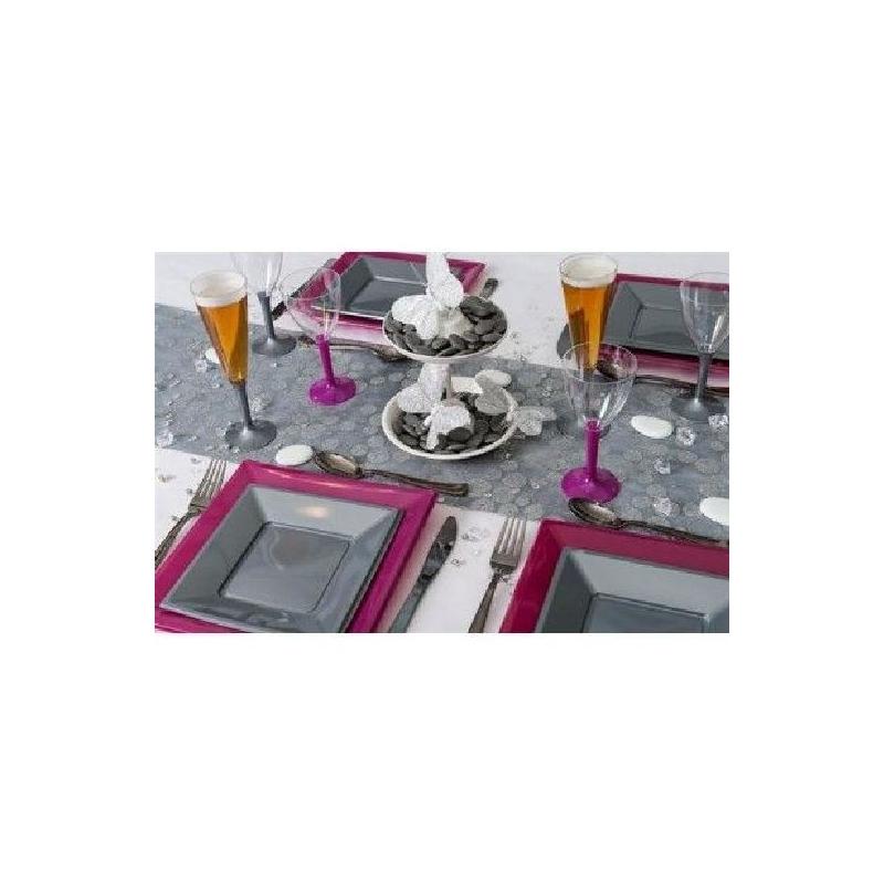 10 verres vin 13 cl en pvc rigide avec pied gris 13 cm - Pied de table 100 cm ...