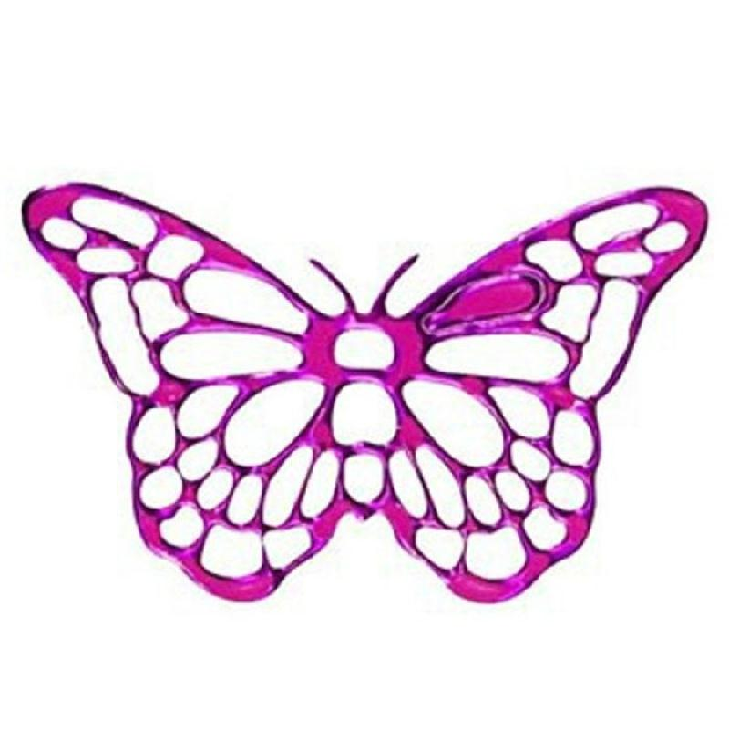 25 stickers fushia en forme de papillon papier autocollant