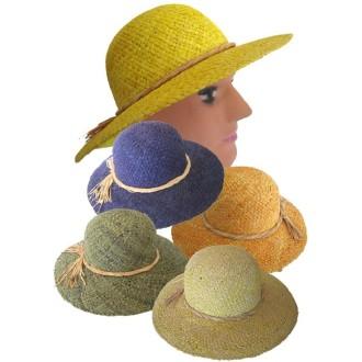 4 Chapeaux de fermière paille avec noeud
