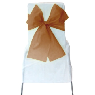 6 Noeuds de chaise chocolat organza 275 x 18 cm